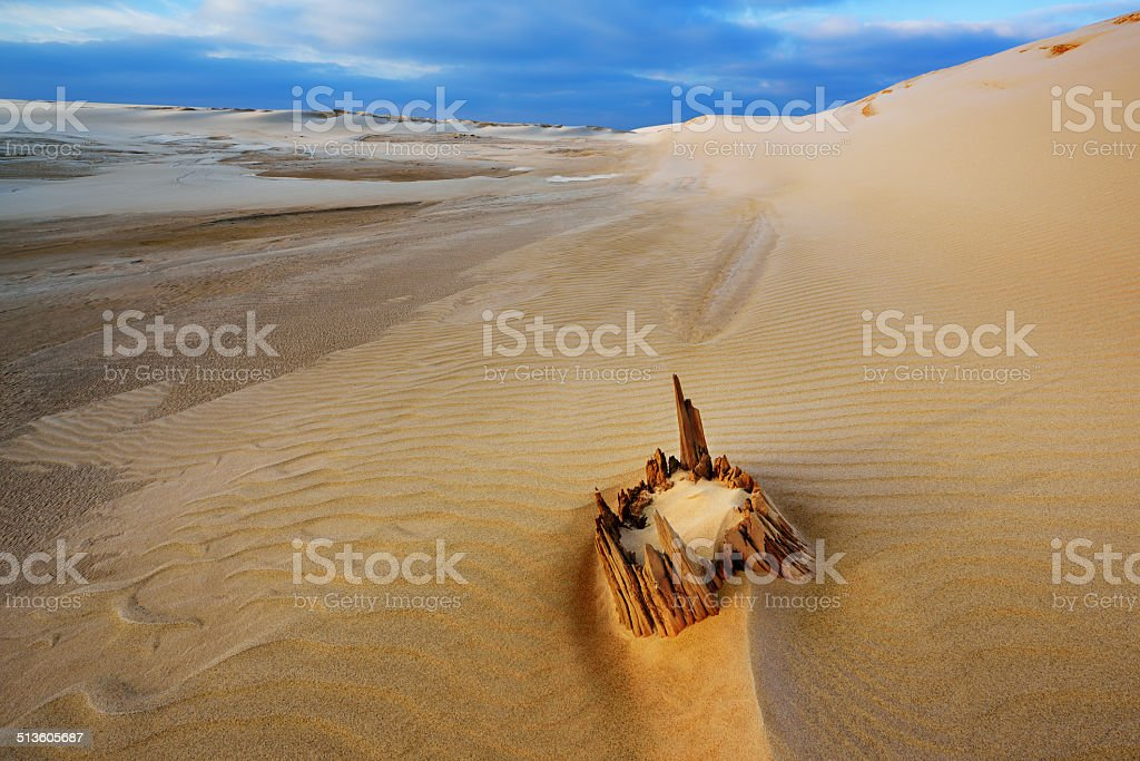 Winter, Silver Lake Sand Dunes stock photo