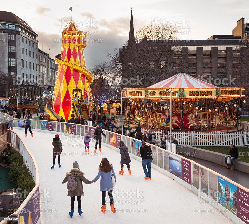 Winter skating in central Edinburgh, Scotland stock photo