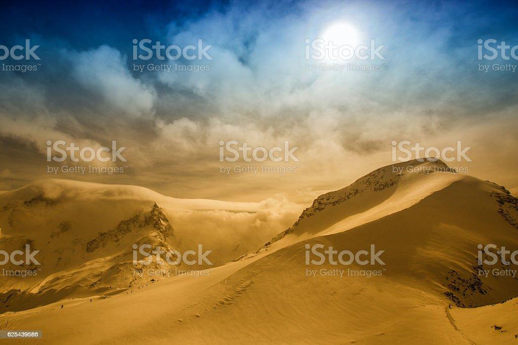 Winter ski mountains landscape stock photo