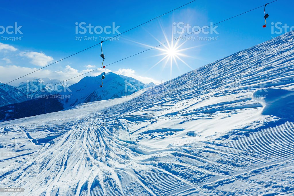 Winter ski resort stock photo