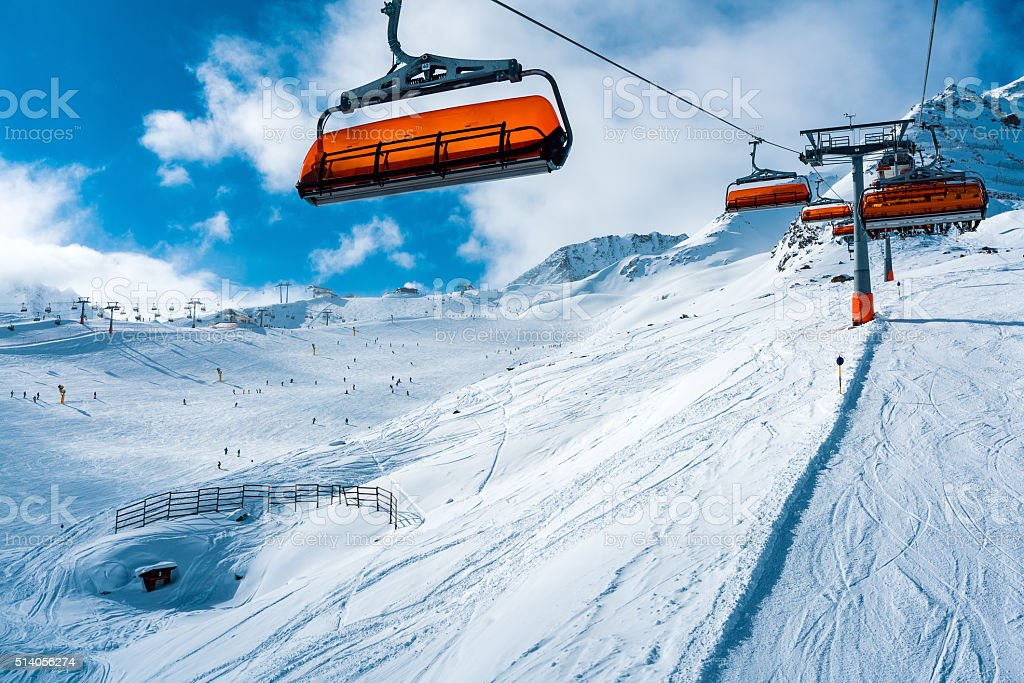 Winter ski resort Soelden, Tirol, Austria stock photo