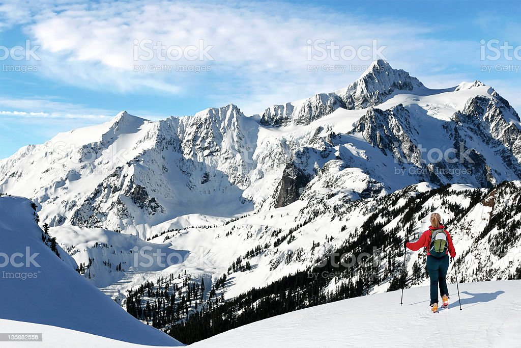 winter skiing adventure stock photo