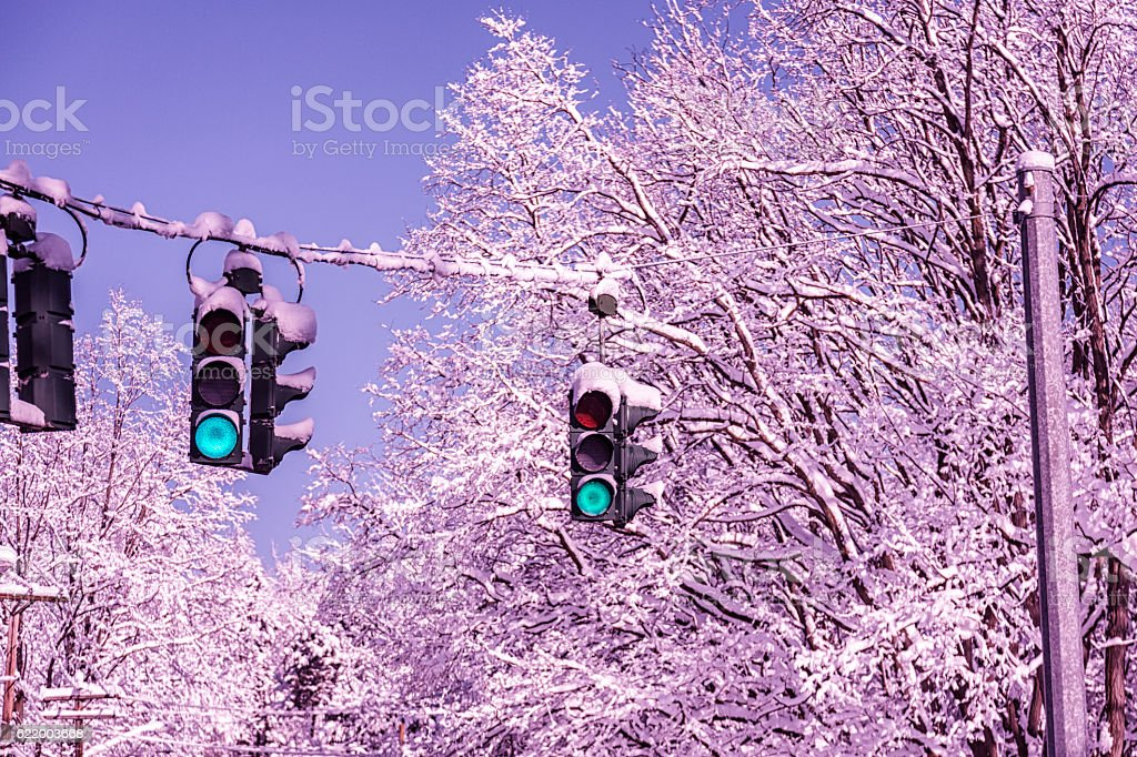Winter Snow Blizzard Traffic Signal LED Stop Lights Turned Green stock photo