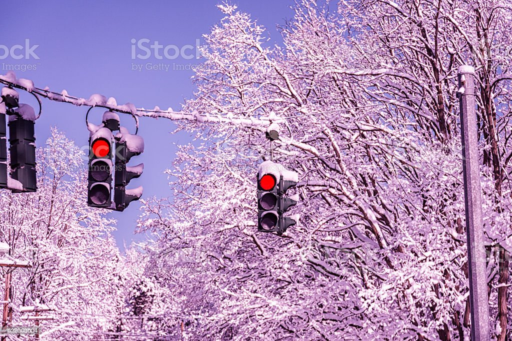 Winter Snow Blizzard Traffic Signal LED Stop Lights Turned Red stock photo