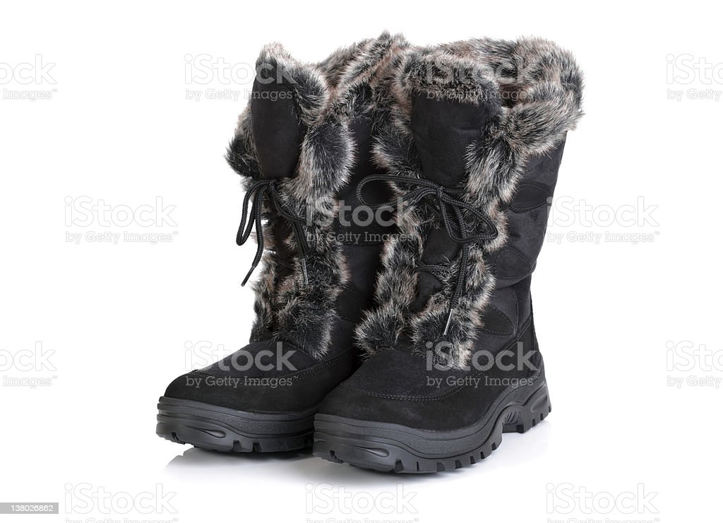 Winter snow boots stock photo