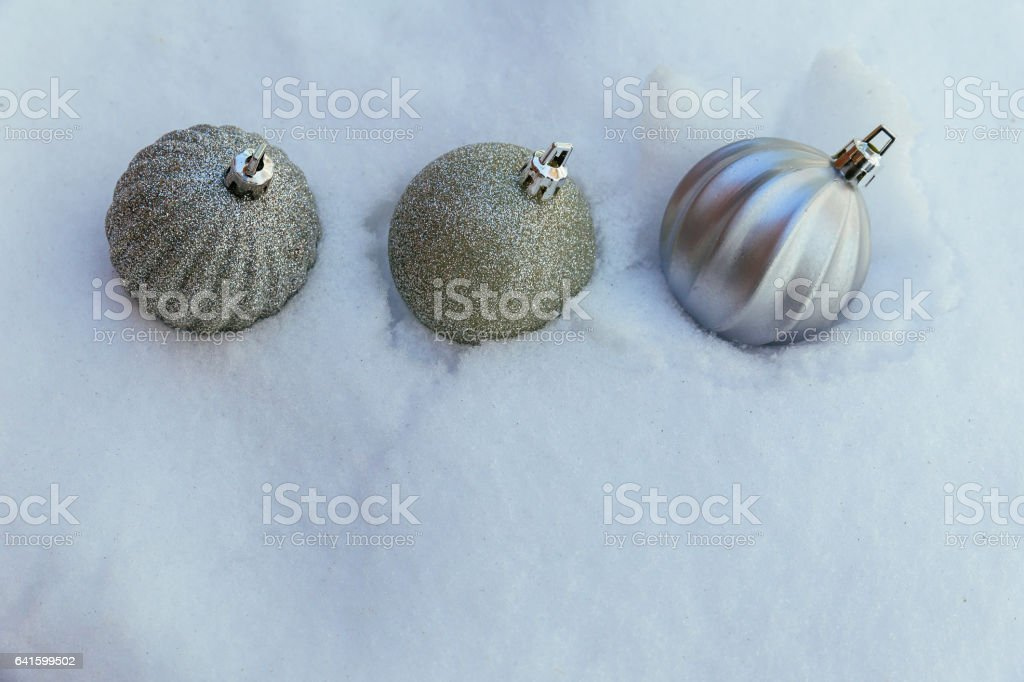 Winter snow Christmas decorations Christmas balls on snow stock photo