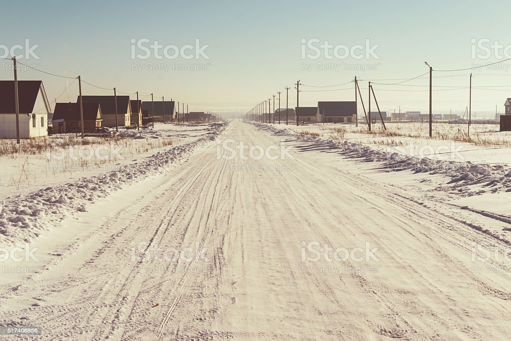Winter Snow Covered Road  in Snow stock photo