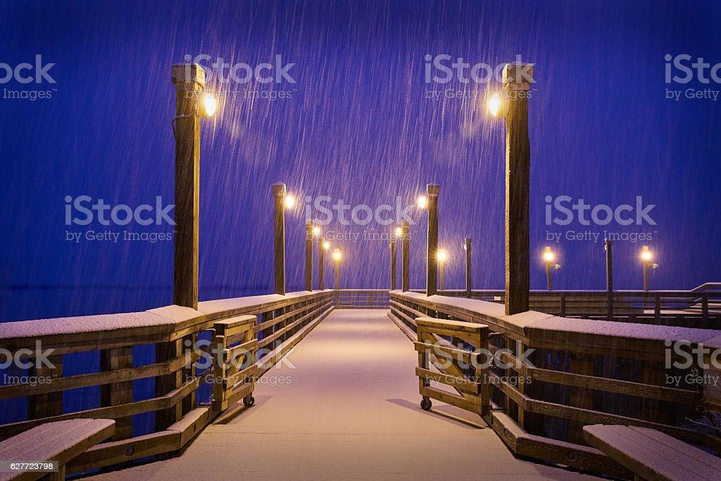 Winter Snow, Fishing Pier, Richmond, BC stock photo
