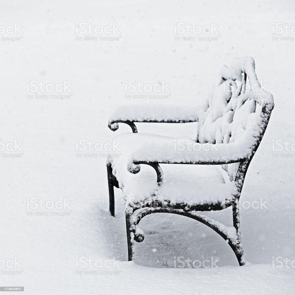 Winter Snow Garden Bench stock photo