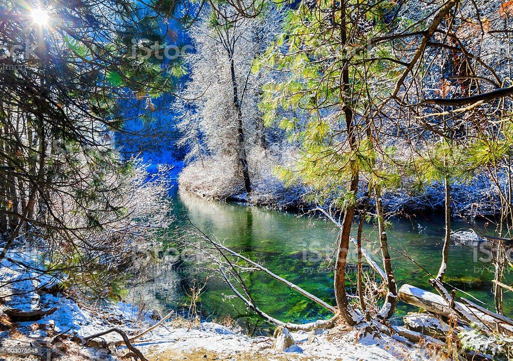Winter Snow Ice  Wenatchee River Leavenworth Washington stock photo