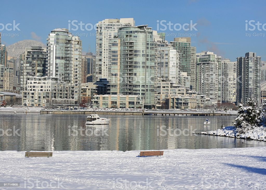 Winter Snow in Vancouver's Yaletown and False Creek Shoreline stock photo