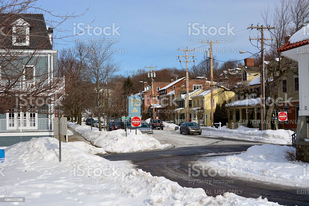 Winter snow on coldspring streets stock photo