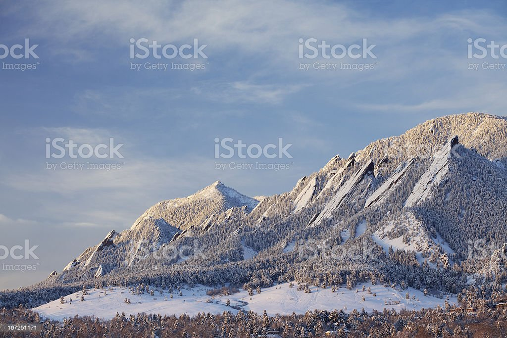 Winter Snow on the Boulder Colorado Flatirons stock photo
