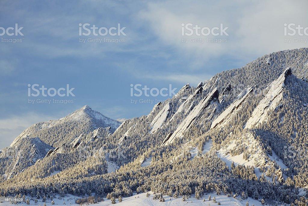Winter Snow on the Boulder Colorado Flatirons stock photo