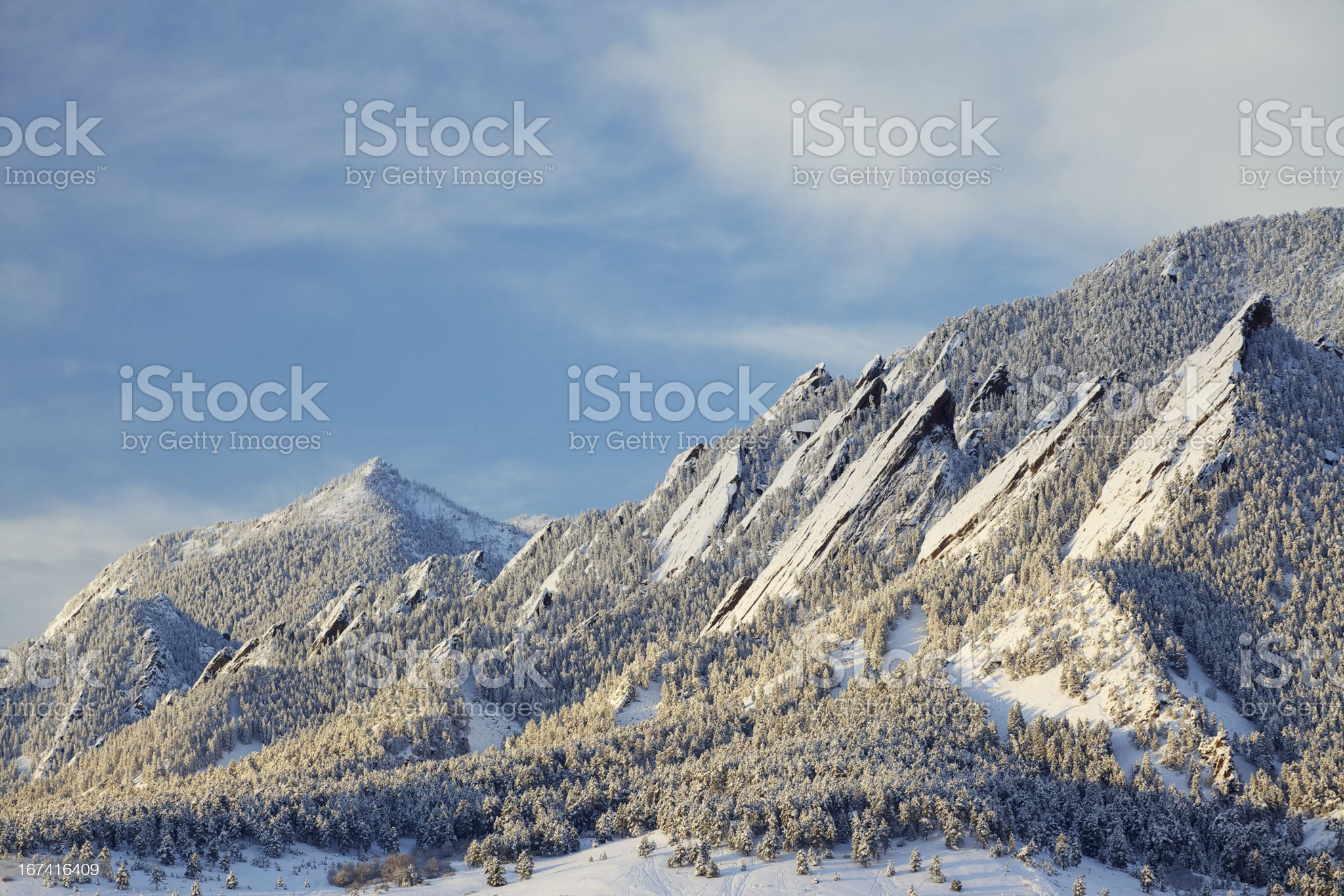 Winter Snow on the Boulder Colorado Flatirons royalty-free stock photo