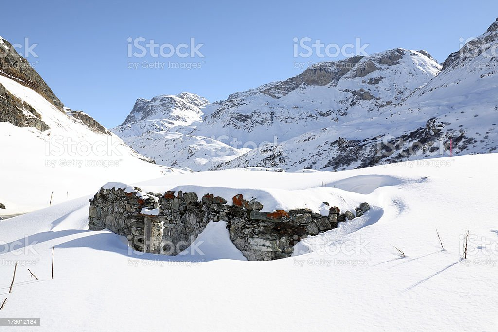 Winter Snow over Ruin House royalty-free stock photo