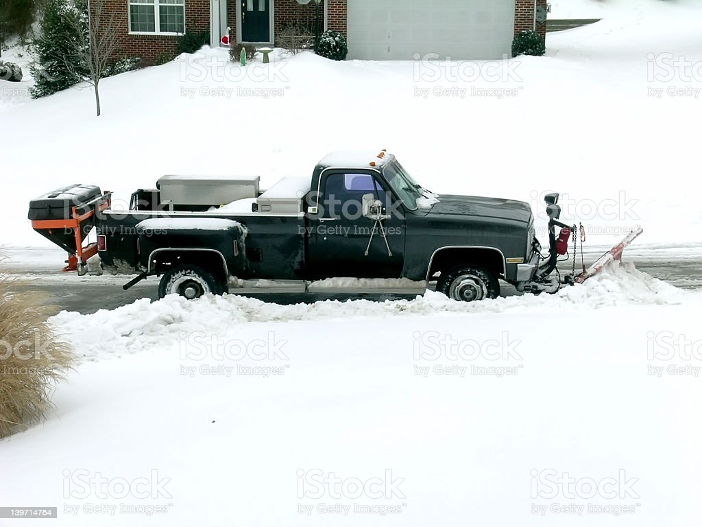 Winter Snow Plowing stock photo