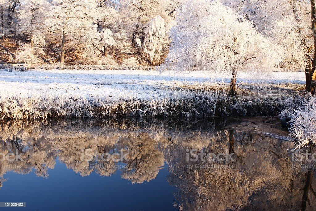 Winter snow scene, with reflections in river stock photo
