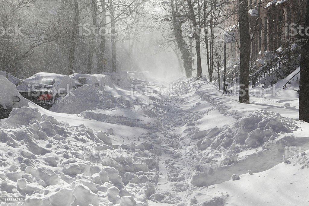 Winter Snow Storm Scene Brooklyn New York stock photo