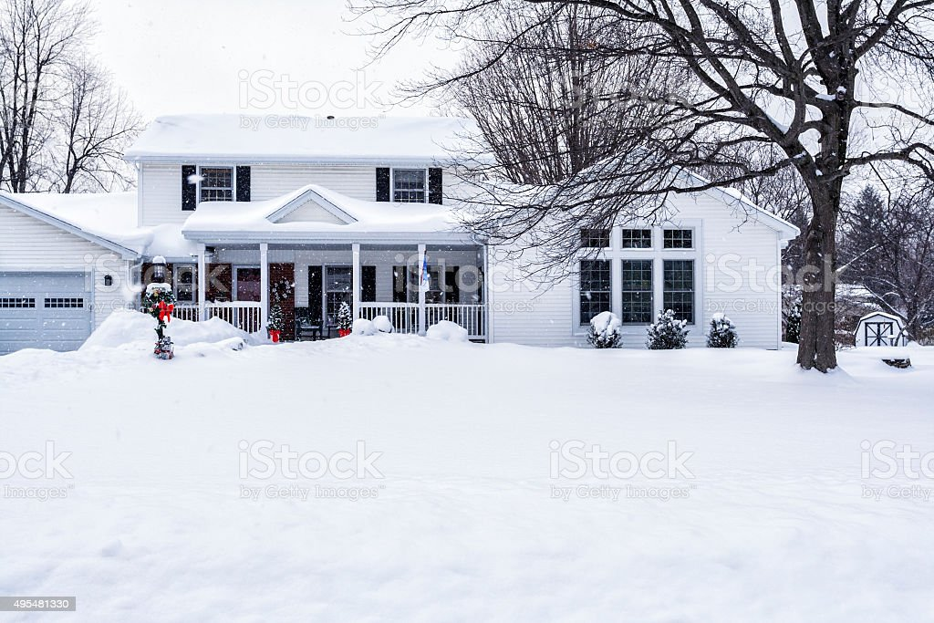 Winter Snow Storm Suburban House stock photo