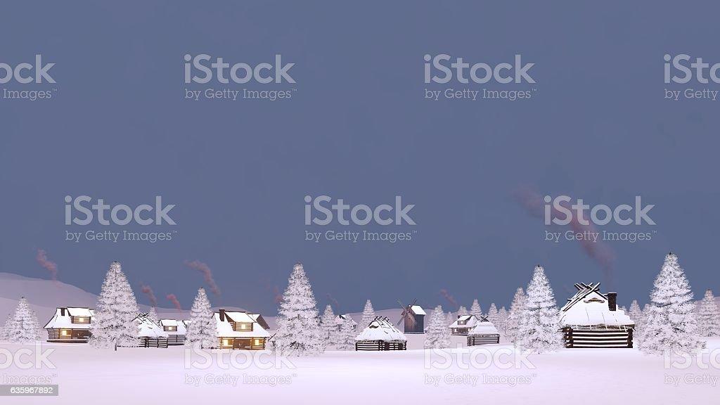Winter snowbound township at dusk stock photo