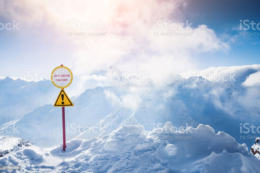 Winter snow-covered mountains stock photo