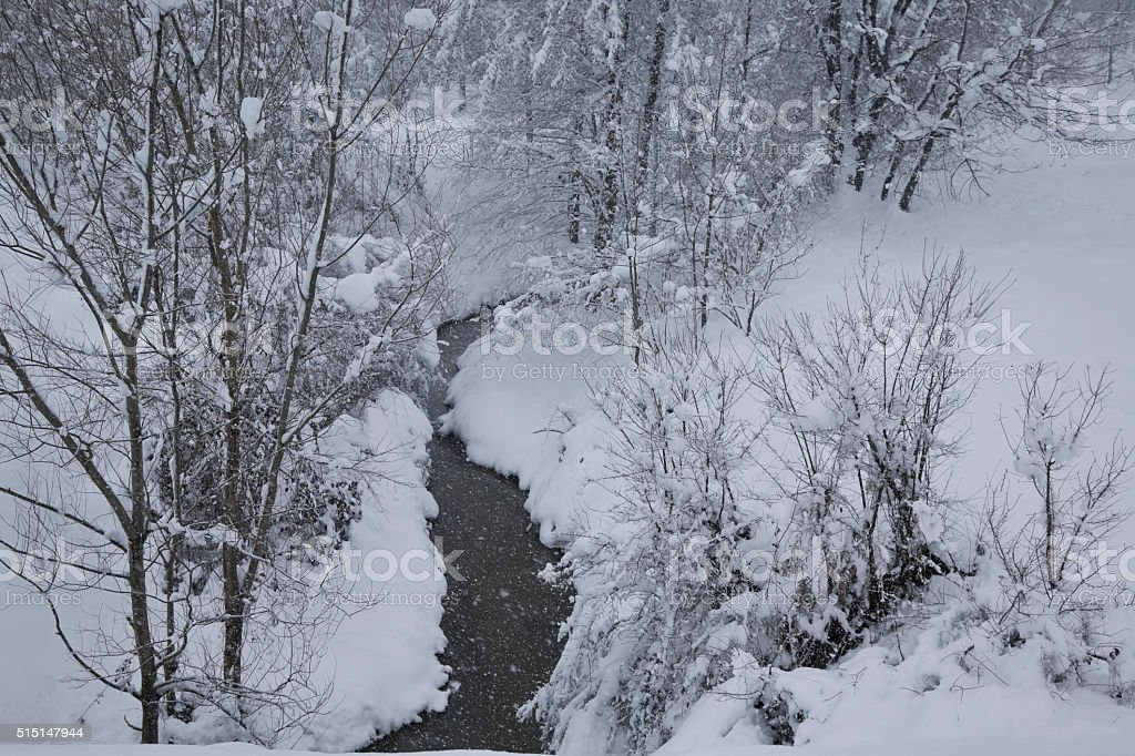 Winter snowfall and creek stock photo