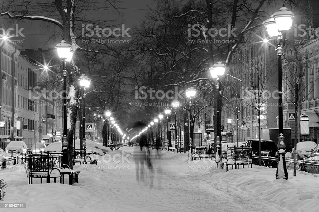 Winter, snowfall - Furshtadskaya street, Saint Petersburg, Russia stock photo