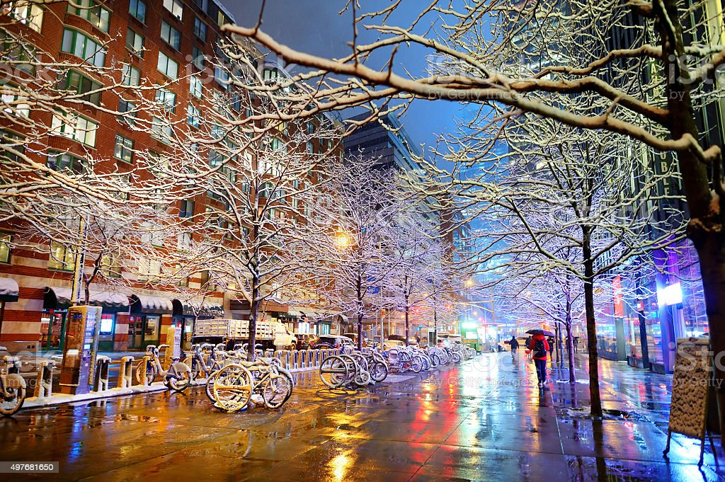 Winter snowfall in New York stock photo