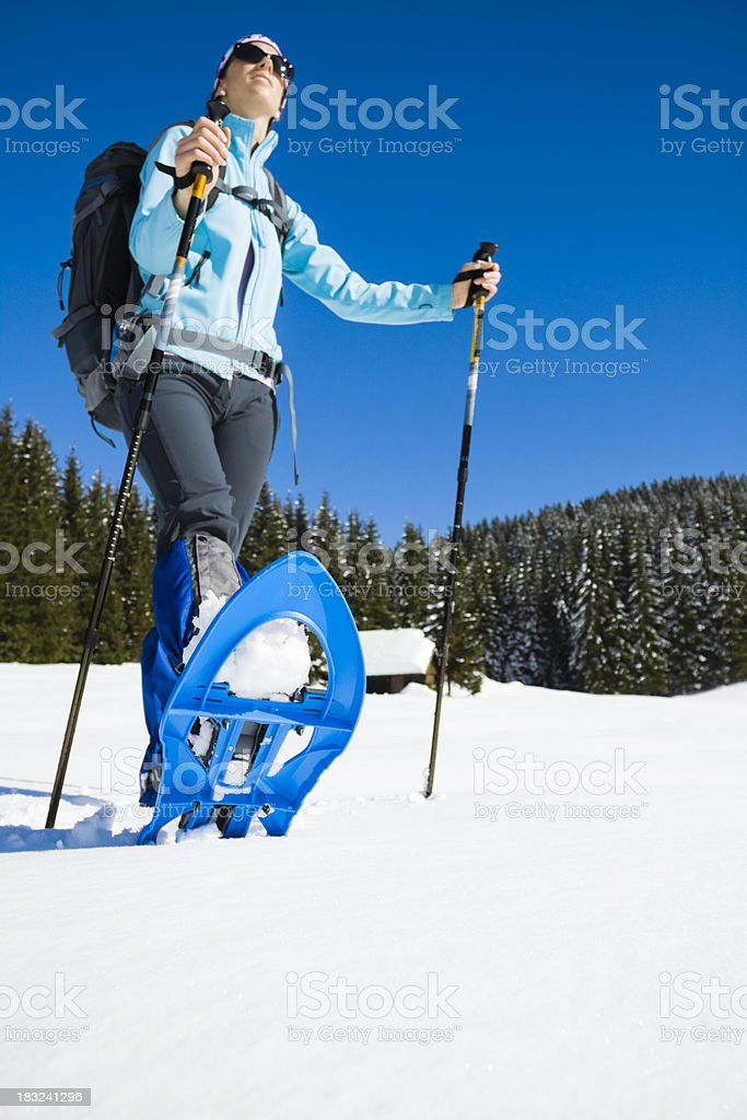 winter snowshoes hiking royalty-free stock photo