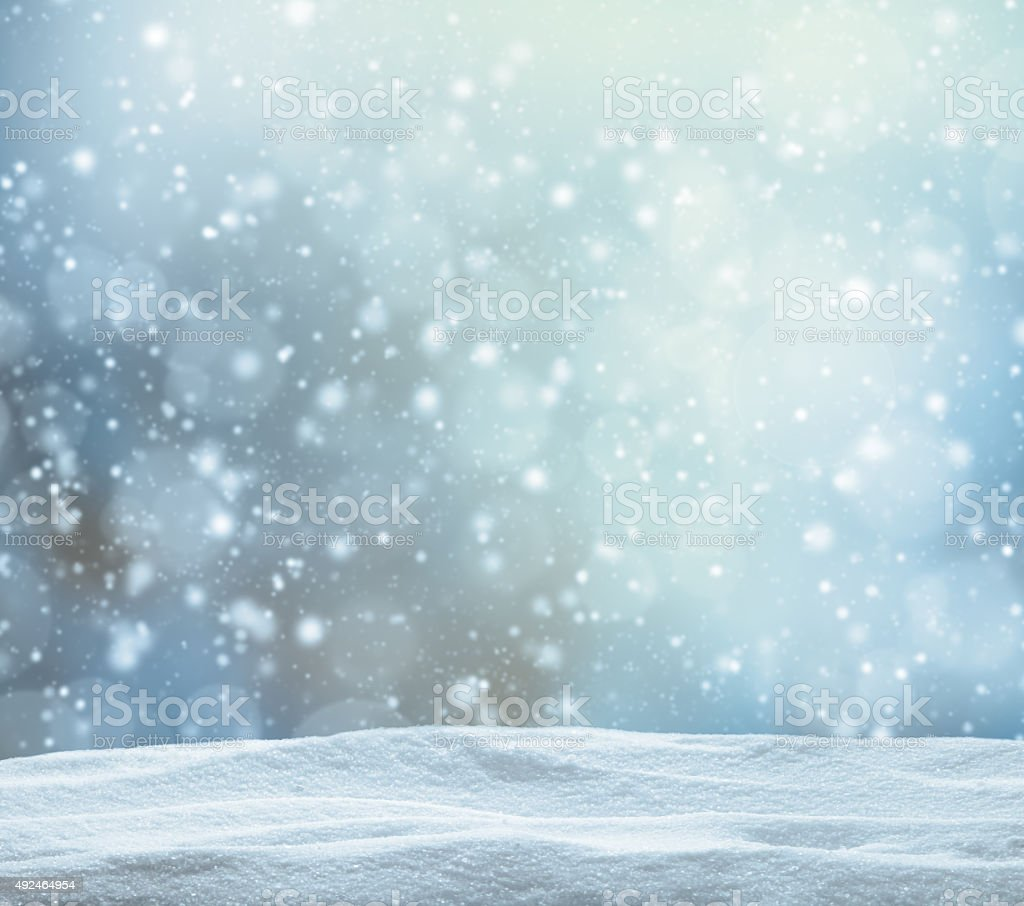 Winter snowy abstract background with pile of snow