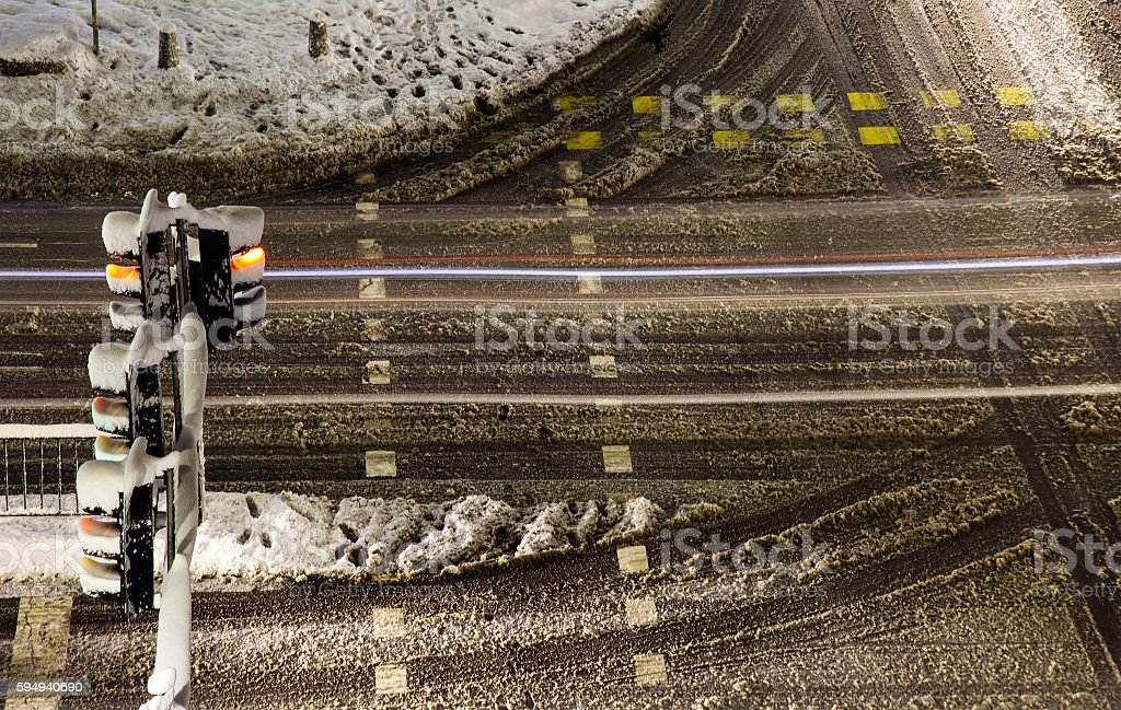 Winter snowy crossroad intersection. stock photo