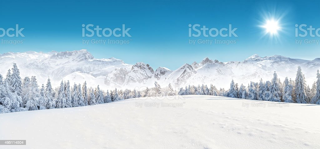 Winter snowy landscape stock photo