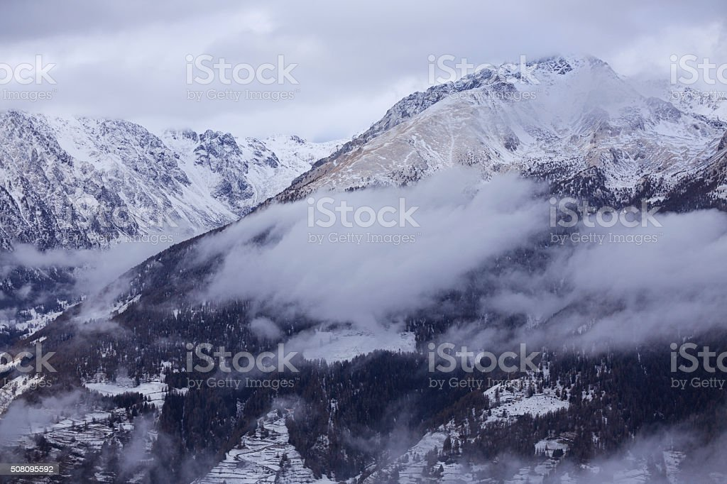 Winter Snowy mountains landscape  Beautiful nature wallpaper stock photo