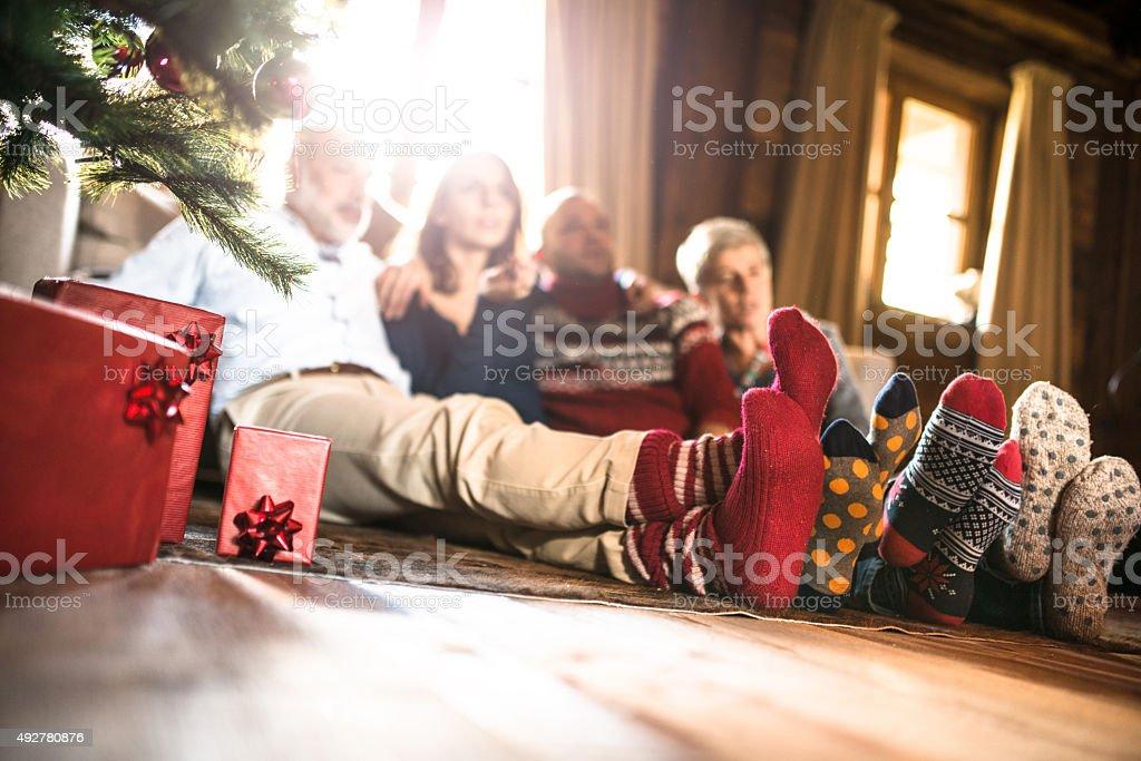 winter socks on the living room for christmas stock photo