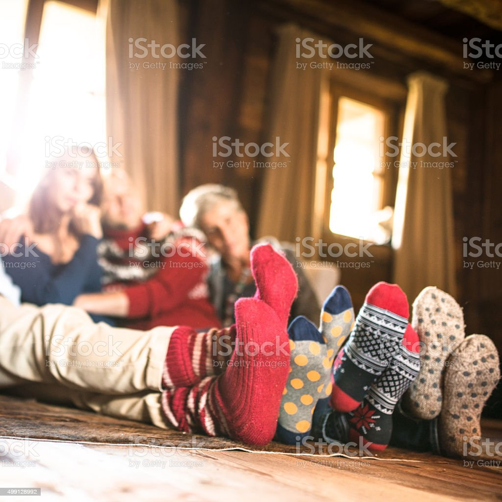 winter socks on the living room for christmas stock photo