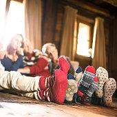 winter socks on the living room for christmas