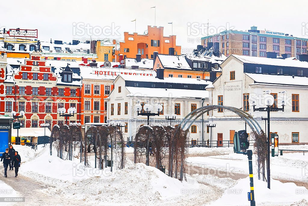Winter Sodermalm and Stockholm City Museum stock photo