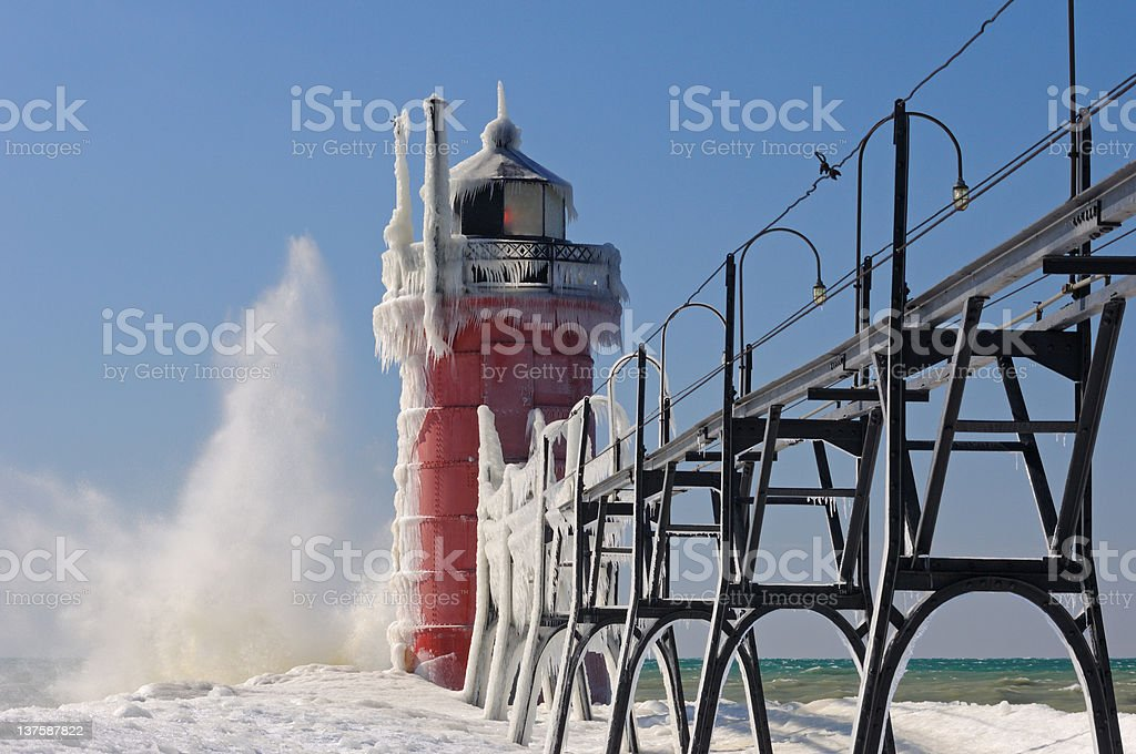Winter, South Haven Lighthouse royalty-free stock photo