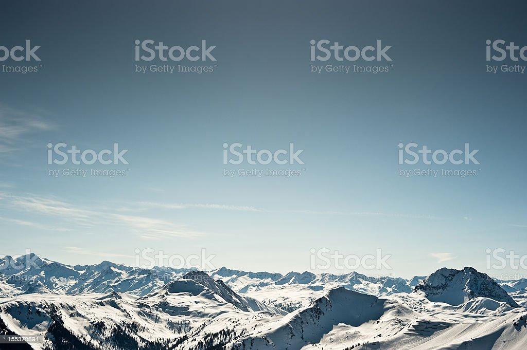 Winter Sport Ski Snowboard Piste Kitzbühel Mountain Panorama stock photo
