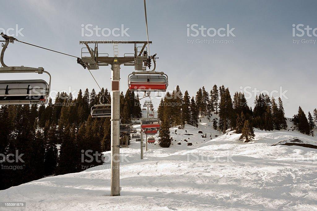 Winter Sport Skier Chair Lift Kitzbühel Mountain Resort stock photo