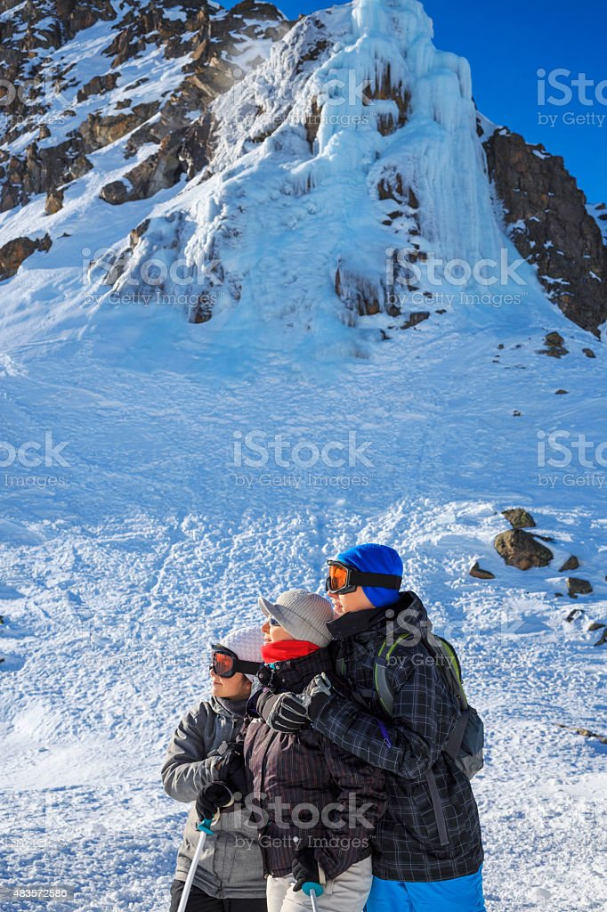 Winter sport   Snow skier family  Mother with children stock photo