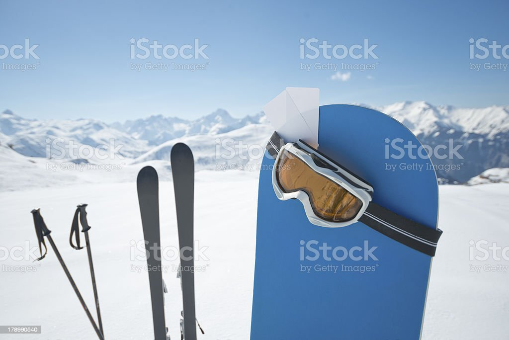 Winter sports equipment stock photo