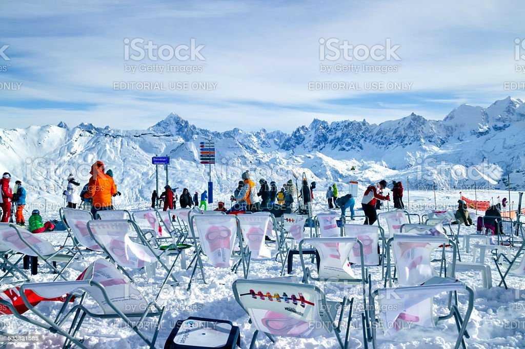 Winter sports fans on the top of mountain stock photo