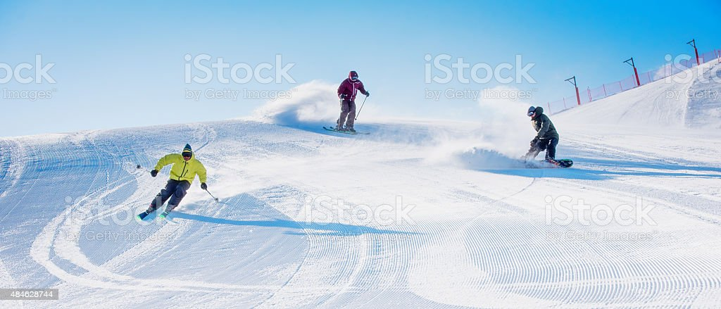 Winter sports in high mountain stock photo