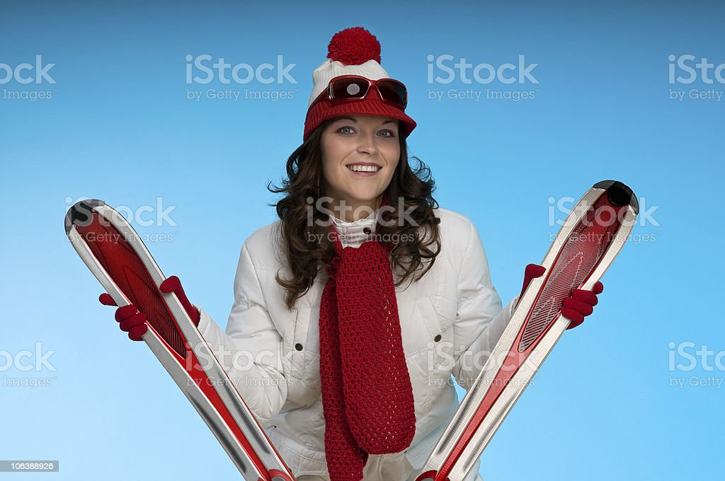 Winter sports series -  Smiling young woman royalty-free stock photo