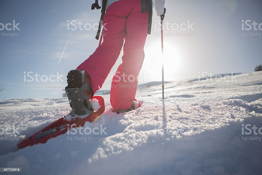 Winter sport-Snowshoeing stock photo