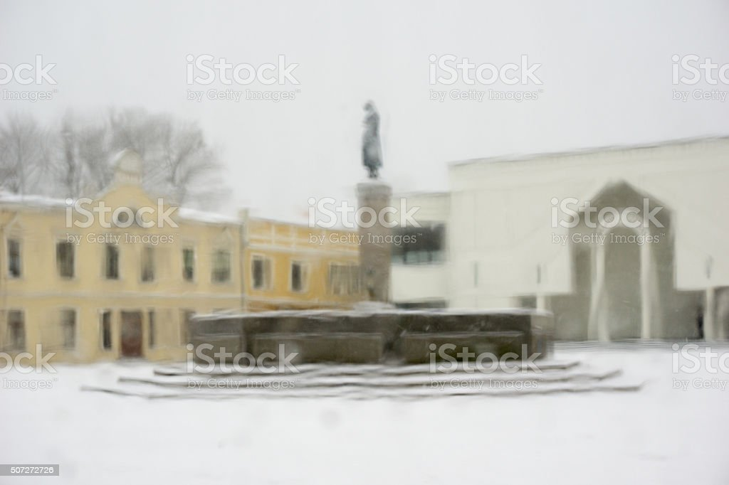 Winter square, Klaipeda stock photo