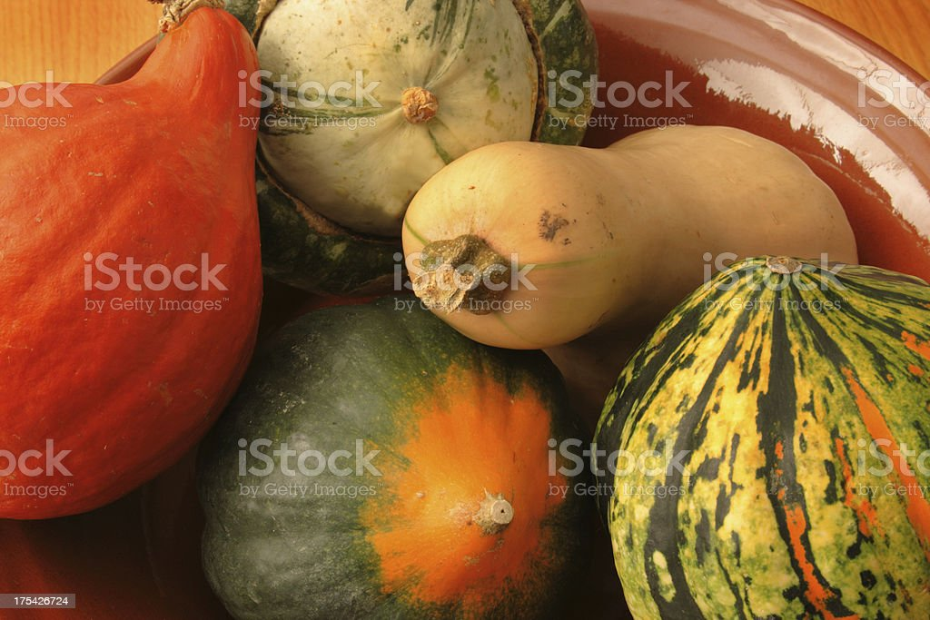 Winter Squash Vegetable Variety—Acorn, Butternut, and Other Autumn Food stock photo