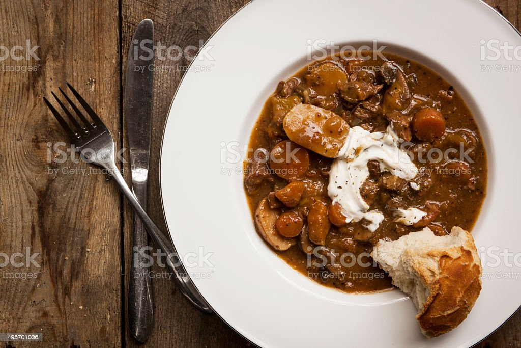 Winter Stew on Wood stock photo